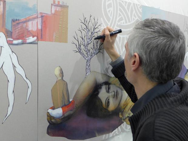 le mur carri re mainguet 2011 2016 le cabinet d 39 amateur oeuvres sur papier peintures. Black Bedroom Furniture Sets. Home Design Ideas